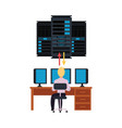 server room and it engineer working pc vector image vector image
