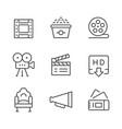 set line icons movie vector image