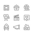 set line icons of movie vector image vector image