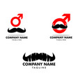 set mustache man logo template design vector image vector image