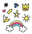 set of fashion stickers with rainbow star crown vector image