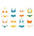 set women swimwear isolated on white background vector image