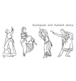 silhouettes indian dancers vector image vector image