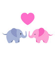 Two cute elephants with heart isolated on white