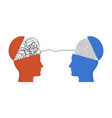 two human heads silhouette with thread between vector image vector image