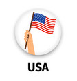 usa flag in hand round icon vector image