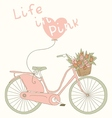Valentine card with pink bicycle vector image vector image