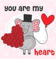 valentine elephant with heart flowers vector image vector image