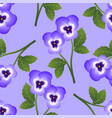 violet pansy flower on light purple background vector image vector image