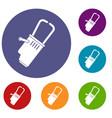 welding equipment icons set vector image vector image