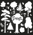 white forest elements on chalkboard tree bushes vector image vector image