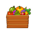 wooden box with vegetables and berries for game ui vector image