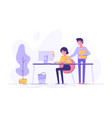 young woman and her boss is pointing to a screen vector image vector image