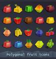 polygonal fruit icons vector image