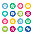 set of flower icons on color background vector image