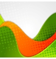 Abstract grunge green orange wavy background vector image vector image