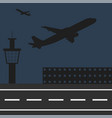 airplanes fly at airport silhouettes vector image