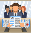 an curriculum vitae in hands employer vector image