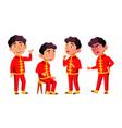 asian boy kindergarten kid poses set vector image vector image