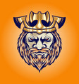 axe crown king viking head cartoon vector image