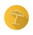 beach umbrella flat linear long shadow icon vector image vector image