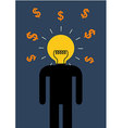 Brain Light Money vector image vector image