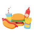 burger hotdog french fries fast food vector image