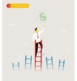 Businessman climbs the stairs to get a dollar vector image