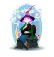 cartoon witch girl with fellow cats vector image