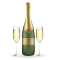 champagne bottle with two full wineglasses vector image vector image