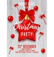 Christmas party flyer with red star and balls vector image