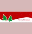 christmas trees on red banner design vector image