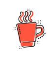coffee tea cup icon in comic style coffee mug vector image vector image