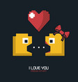 colorful poster of i love you press start with vector image vector image