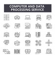 computer and data processing service line icons vector image vector image