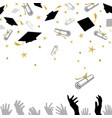 congratulatory on graduation with caps and vector image vector image
