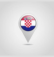 croatia flag map pointer design vector image vector image