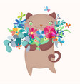 cute and funny cartoon cat character with floral vector image