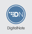 digitalnote cryptocurrency - colored logo vector image vector image