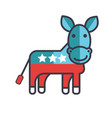 donkey usa democrat party flat line vector image vector image