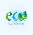 ecological banner with the word eco and dandelion vector image