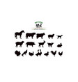 farm animals silhouettes isolated vector image