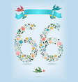 floral number sixty six with ribbon and birds vector image vector image