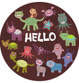 Funny monsters party card design on dark vector image vector image