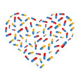 heart symbol created from pills vector image