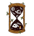 hourglass camping in universe vector image vector image