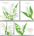invitation cards with lovely lilies of the valley vector image