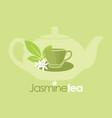 jasmine tea organic drink logo vector image vector image
