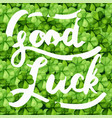 lettering good luck on clover vector image