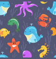 marine animals seamless pattern tropical vacation vector image vector image